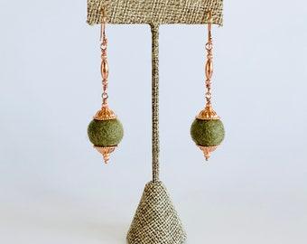 Dark Felt and Copper Dangle Earrings