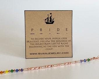 Pride morse code copper rainbow bracelet