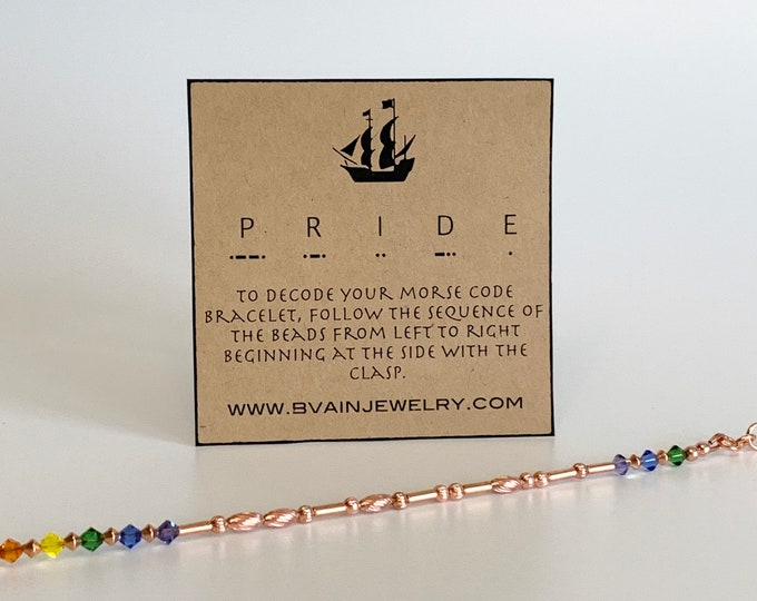 Featured listing image: Pride morse code copper rainbow bracelet