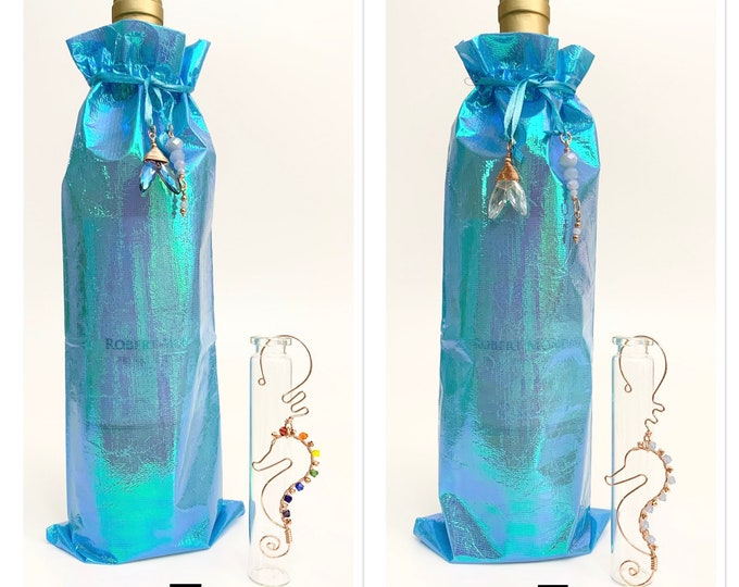Featured listing image: Handmade Seahorse Ornament with Adorned Wine Bag Gift Bundle