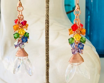 Crystal Rainbow Mermaid Tail Earrings