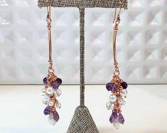 Amethyst and Pearl Copper Cluster Earrings