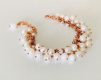 Pearl and Copper Wedding Bracelet