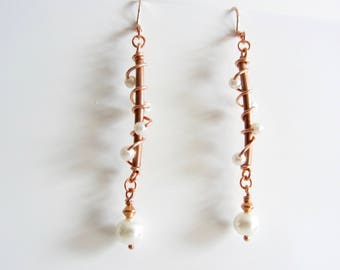 Small Glass Pearl Vine Earrings