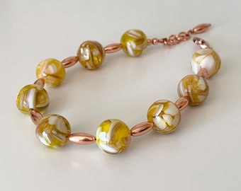 Yellow Mother of Pearland Copper Bracelet