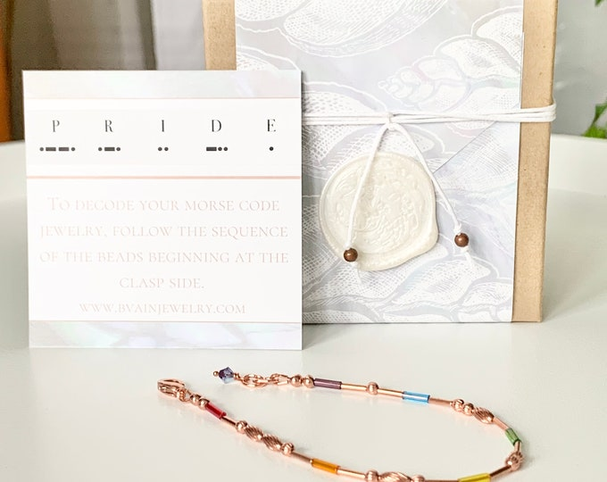 Featured listing image: Pride Rainbow Morse Code Bracelet