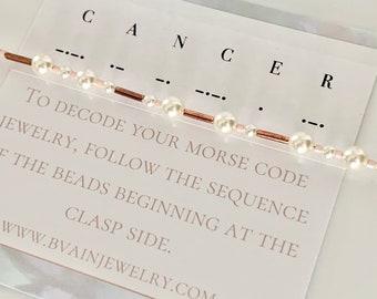 Cancer Zodiac Morse Code Pearl Bracelet