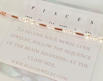 Pisces Zodiac Morse Code Pearl Bracelet