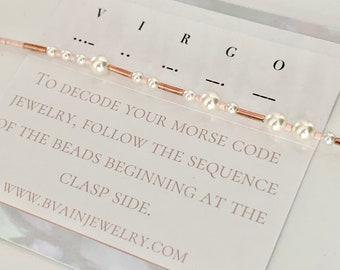 Virgo Zodiac Morse Code Pearl Bracelet