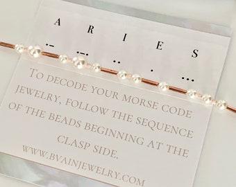 Aries Zodiac Morse Code Pearl Bracelet