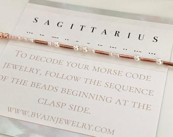Sagittarius Zodiac Morse Code Pearl Bracelet