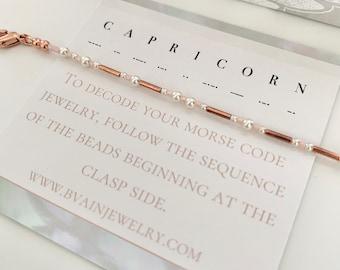 Capricorn Zodiac Morse Code Pearl Bracelet