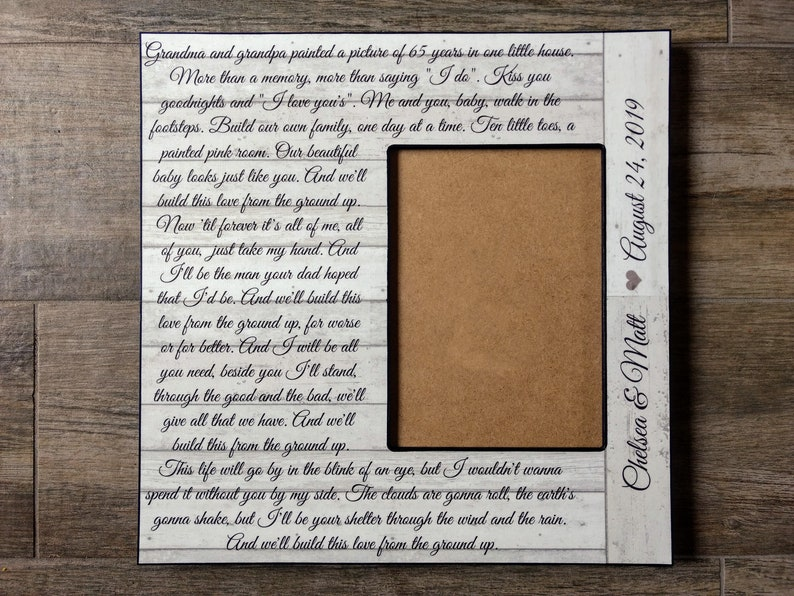 12x12 Custom Song Lyric Picture Frame| Wedding Song Decor | First Dance  Song Frame