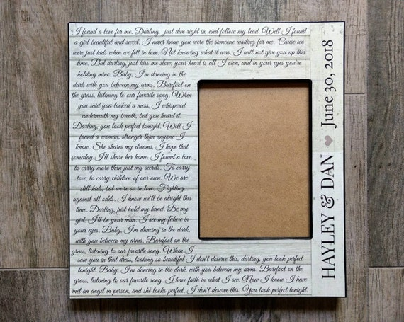 Personalized From The Ground Up Picture Frame Perfect Lyrics Etsy