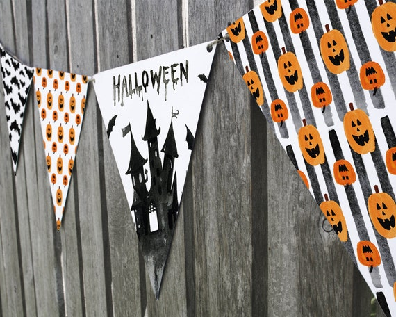 printable halloween bunting flag template in spooky orange and etsy