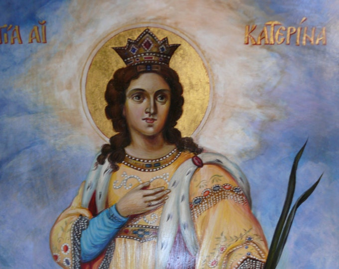 St Catherine of Alexandria, Orthodox Icon, Hand painted, Russian icon, Icons Church,