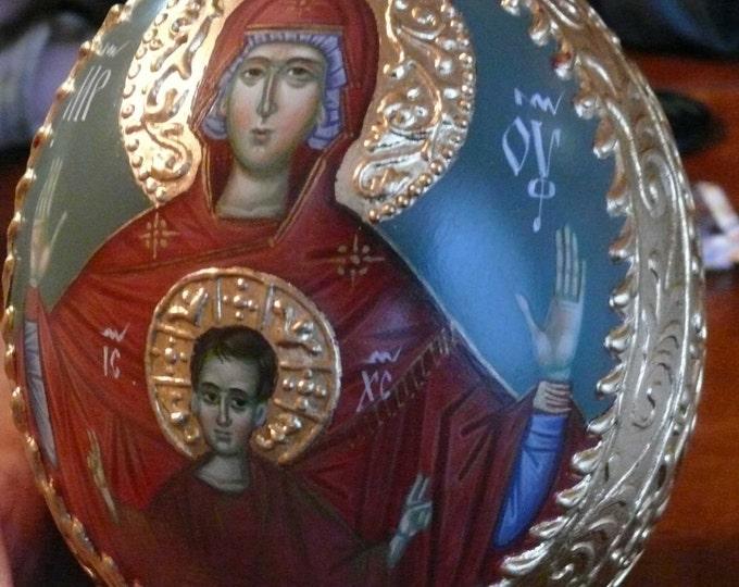 Orthodox Icon Egg of Mother of God, Panagia Vlahernon, byzantine art