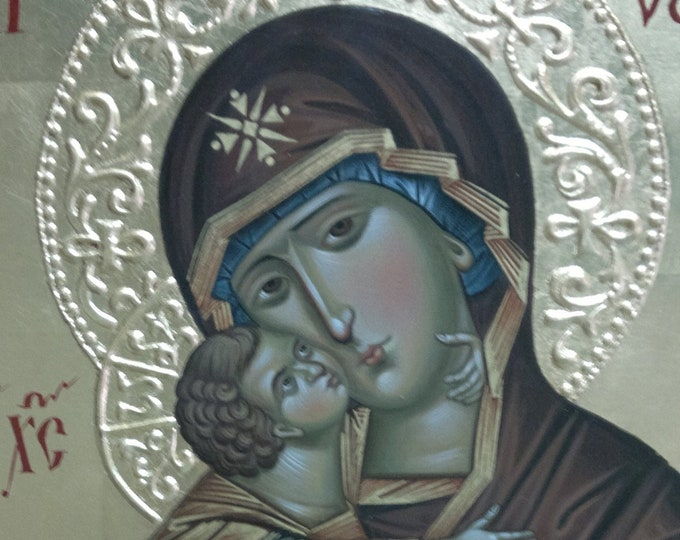 The Mother of God of Vladimir , Theotokos of Vladimir, Hand-Painted Icon, Russian religious icon, gift orthodox
