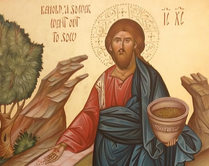Icon Christ the sower of seeds, hand painted, bible paintings, orthodox iconography, religious icon