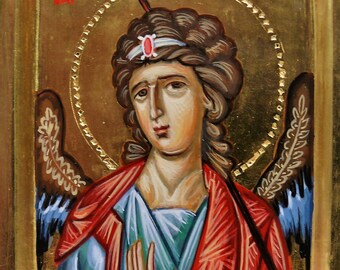 Icon of the Archangel Gabriel, hand painted, miniature, orthodox icon, religious icon, greek orthodox icon, iconography,