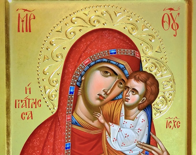 "Icon of Panagia Giatrissa ""The Healer"", Byzantine icon, Greek icon, icon of Theotokos, Hand painted icon, iconography"