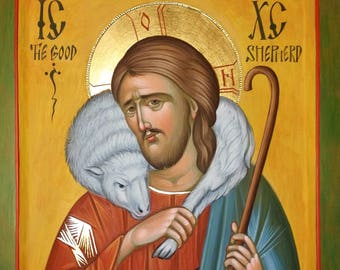 Christ the Good Shepherd Icon, Orthodox Icon of the Lord Jesus Christ, hand painted icon, iconography,