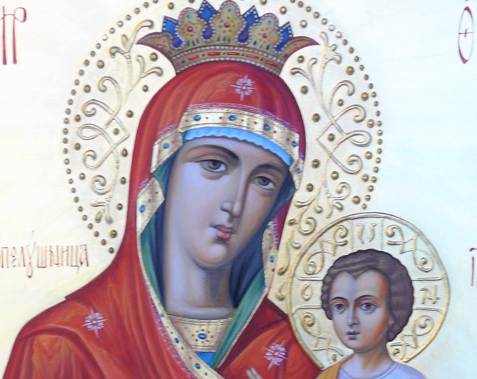 "Our Lady of Iveron, Hand Painted Icon Most-Holy Theotokos, ""She Who is Quick to Hear"", orthodox icon, iconography"