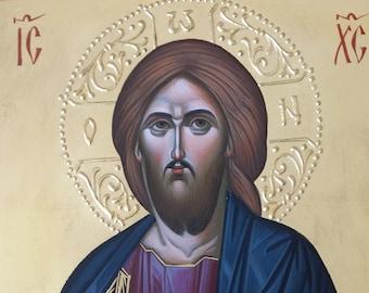 Jesus icon orthodox, Christ icon, hand painted icon, Byzantine icon, orthodox icon, orthodox gifts, iconography, religious icons