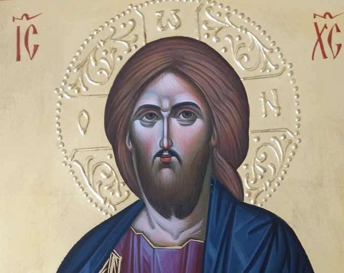 Jesus Christ icon, hand painted icon, Byzantine icon, orthodox icon, iconography