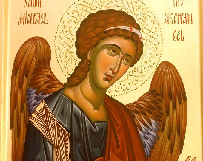 St. Michael the Archangel icon, hand painted orthodox icon, orthodox gift, iconography, religious icon, christian gift