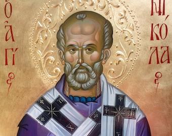 St. Nicholas Archbishop of Myra the Wonderworker, byzantine icon, hand painted, orthodox icon, orthodox gift, christian iconography,