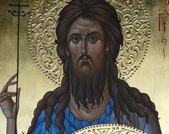 Byzantine Icon of St. John, the Glorious Prophet, Forerunner and Baptist of the Lord, hand painted icon, iconography