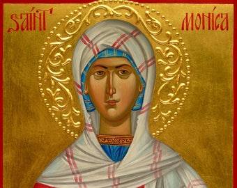 St. Monica icon, hand painted, orthodox icon, Byzantine icon, iconography,
