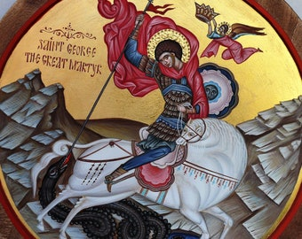 Saint George the Great Martyr, Icon, Byzantine icon, St. George slaying the dragon iconography,hand-painted icon, ring wood panel