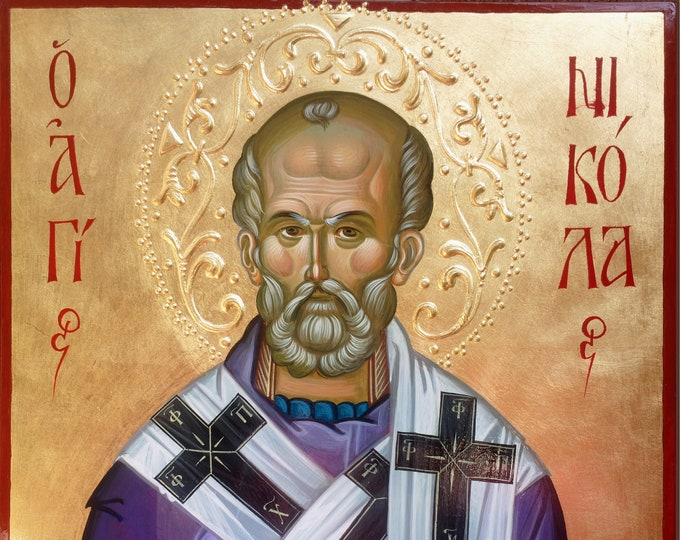 St. Nicholas Archbishop of Myra,  St. Nicholas the Wonderworker, byzantine icon, hand painted, orthodox icon, christian iconography,