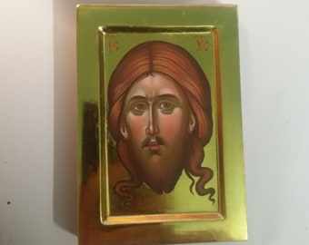 The Holy Mandylion of Christ, miniature orthodox christian icon of Jesus Christ, hand painted, mini shrine icon, religious gift