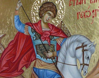 St. George Icon,With carved elements around, byzantine icon, orthodox gift, St. George slaying the dragon iconography