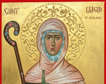 St. Brigid of Ireland, St. Brigid of Kildare religious icon, christian, orthodox icon, iconography