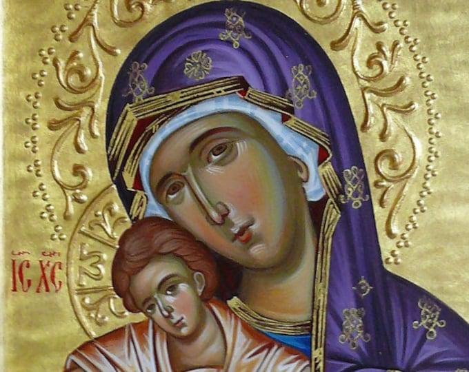 Mother of God icon aka Panagia Axion Estin, icon of Theotokos, Hand painted icon, iconography