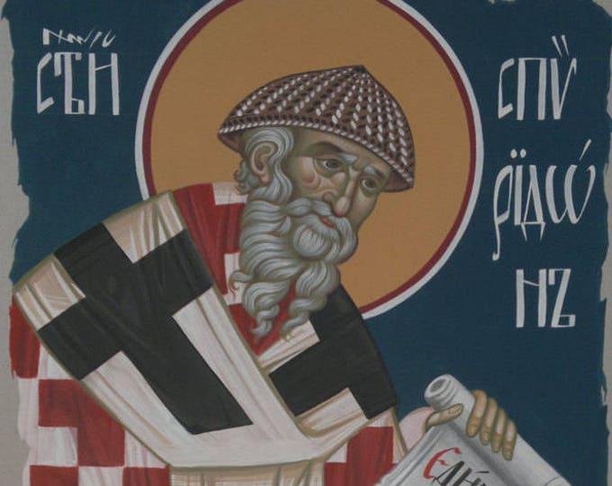 Saint Spyridon of Cyprus, Bishop of Trimythous, iconography, cardboard art, christian decor, christian wall art, Catholic art, orthodox art