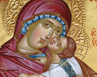 The Theotokos, Byzantine icon of The Mother of God of Tenderness, byzantine icon, Greek icon, Virgin Mary