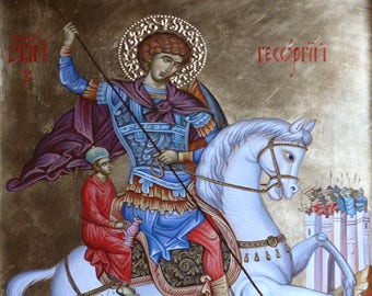 Saint George slaying the dragon, hand painted icon, orthodox gift, religious gift, iconography