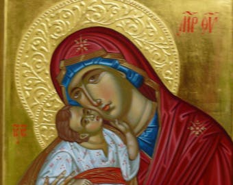 Sweet Kissing icon, The Mother of God Glykophilousa,  Theotokos icon, Byzantine icon, hand painted, orthodox icon