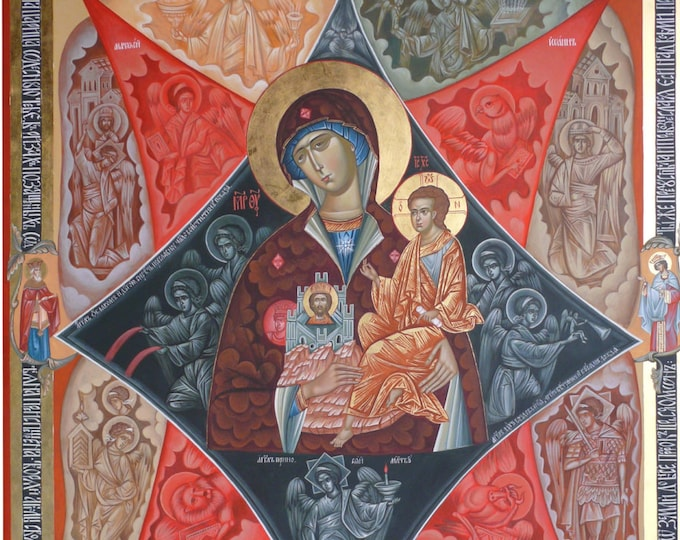 Theotokos the Unburnt Bush icon, Our Lady of the Burning Bush, Neopalimaya Kupina, hand painted, Byzantine iconography