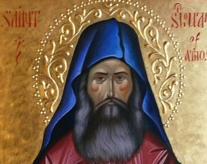 St. Silouan the Athonite, Holy Father Silouan, icon hand painted, orthodox icon, iconography