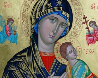 Our Holy Mother Of Perpetual Succour, Hand painted, orthodox icon,