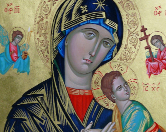 Our Holy Mother Of Perpetual Succour, Hand painted, orthodox icon, , Mother of God, Byzantine icon, Virgin Theotokos of the Passion