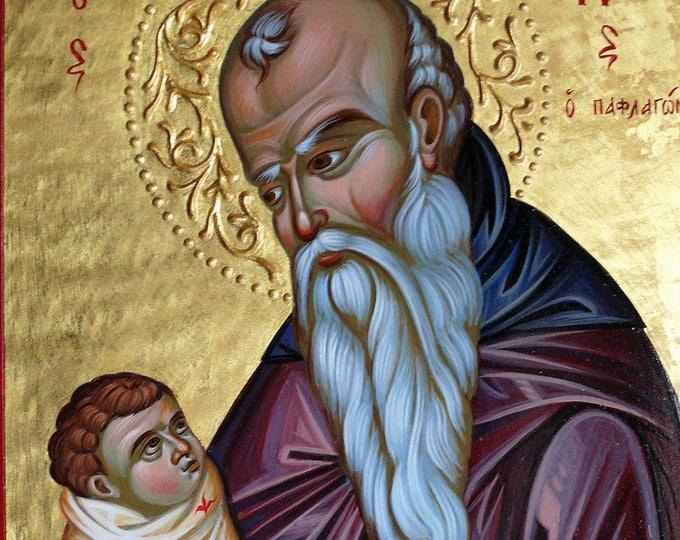 Orthodox St. Stylianos Icon, iconography, St. Stylianos healer of children, orthodox icon, byzantine icon