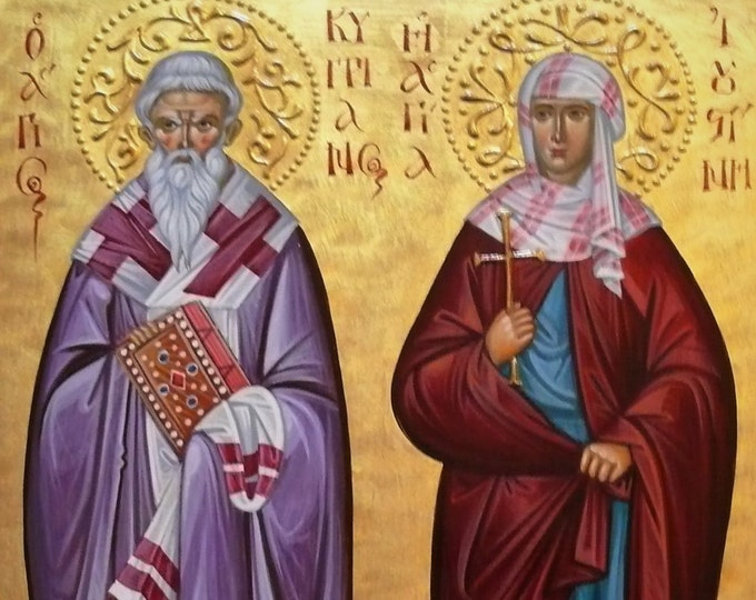 Icon of St. Cyprian and St. the Martyrs of Nicomedia, Holy Hieromartyr Cyprian & the Virgin Martyr Justina, Byzantine icon