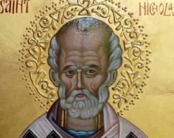 St. Nicholas, Orthodox St. Nicholas Icon, Byzantine icon, iconography, Greek icon, Russian icon